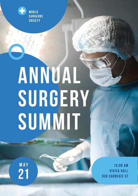 Doctor Wearing Mask in Surgery in Blue Poster Design Template