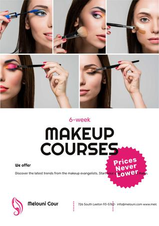 Plantilla de diseño de Beauty Courses with Beautician Applying Makeup Poster