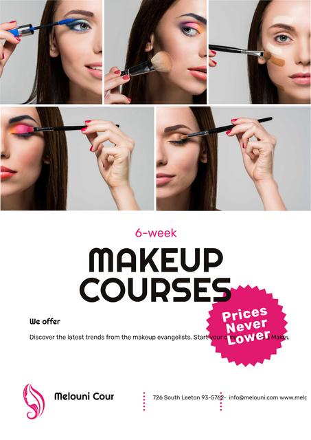 Beauty Courses with Beautician Applying Makeup Poster – шаблон для дизайна