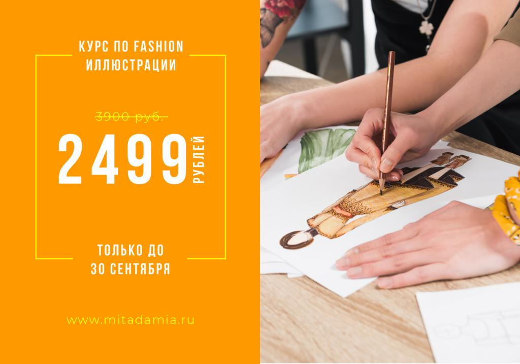 Fashion Illustration Courses Ad with artist drawing — Modelo de projeto