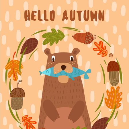 Plantilla de diseño de Bear with Fish in Autumn Frame Animated Post