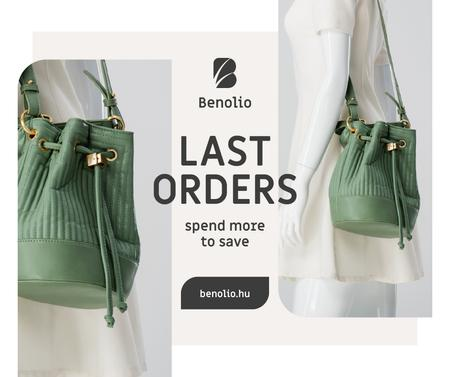 Plantilla de diseño de Accessories Sale woman with Green Bag Facebook