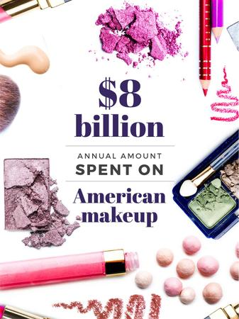 Template di design Makeup sales statistics with Cosmetics products Poster US