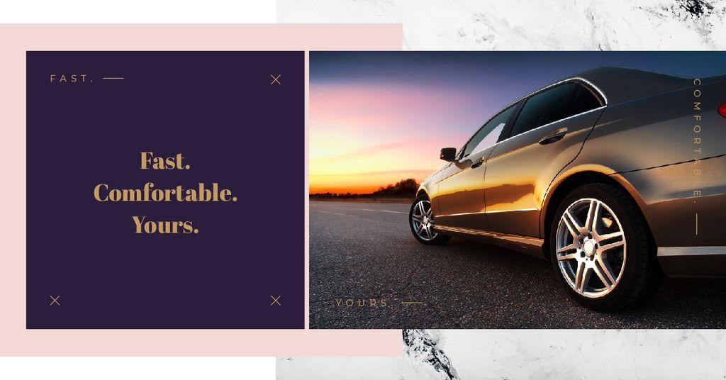 Ontwerpsjabloon van Facebook AD van Modern fast car on road