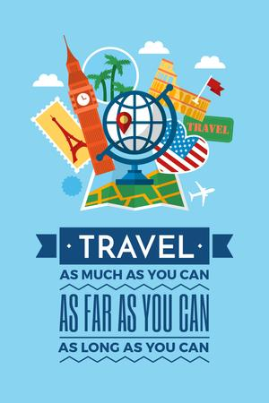 Modèle de visuel Travel motivational slogan - Pinterest