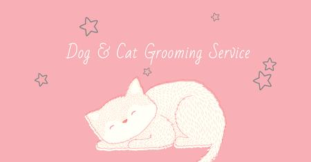 Grooming Service Ad with Cute Sleepy Cat Facebook AD Modelo de Design