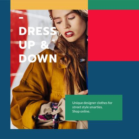 Plantilla de diseño de Designer Clothes Store ad with Stylish Woman Instagram