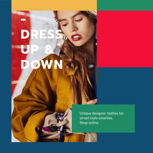 Plantilla de diseño de Designer Clothes Store ad with Stylish Woman Instagram