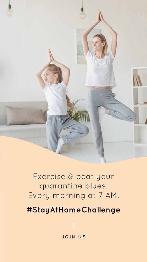 #StayAtHomeChallenge Mother and daughter Exercising together Instagram Story Modelo de Design