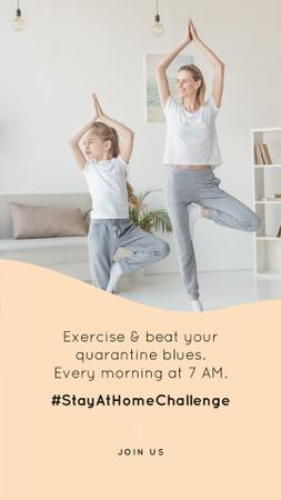 Template di design #StayAtHomeChallenge Mother and daughter Exercising together Instagram Story