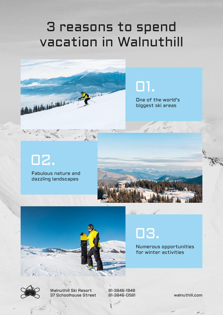 Mountains Resort Invitation Snowboarder on Snowy Hills — Modelo de projeto