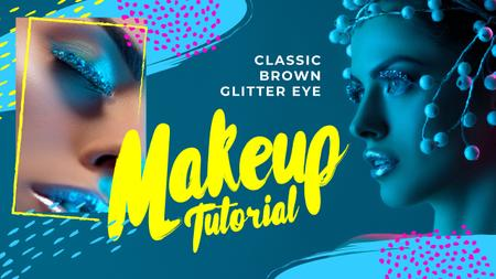 Ontwerpsjabloon van Youtube Thumbnail van Tutorial Inspiration Woman with Creative Makeup in Blue