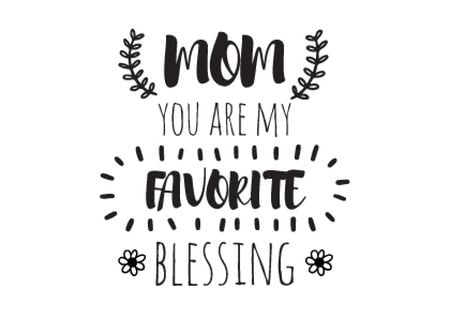 Citation on Mothers Day about mom as favorite blessing Postcard Tasarım Şablonu