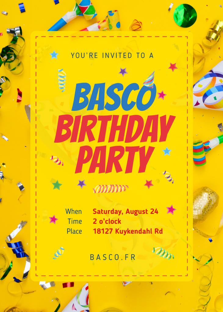 Birthday Party Invitation Confetti and Ribbons in Yellow Invitation Modelo de Design