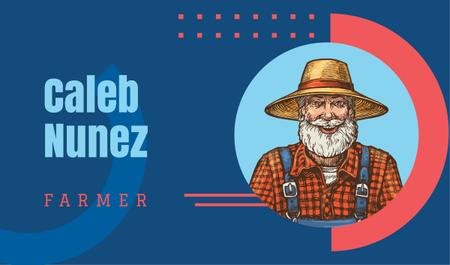 Designvorlage Senior smiling farmer illustration für Business card