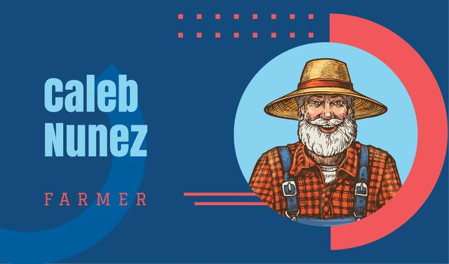 Senior smiling farmer illustration Business card Design Template