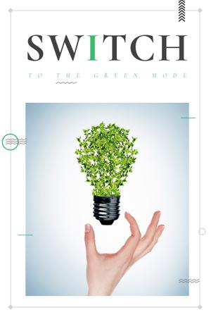 Eco Technologies Concept with Light Bulb with Leaves Pinterest – шаблон для дизайна
