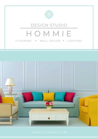 Design studio advertisement with Bright Interior Poster Design Template