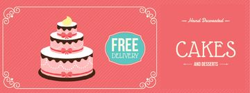 Bakery Ad with Layered Pink Cake | Facebook Video Cover Template