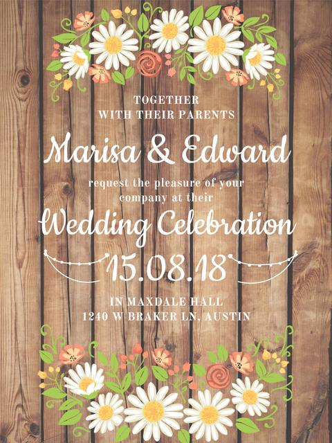 Wedding Invitation with Flowers on Wooden Background Poster USデザインテンプレート