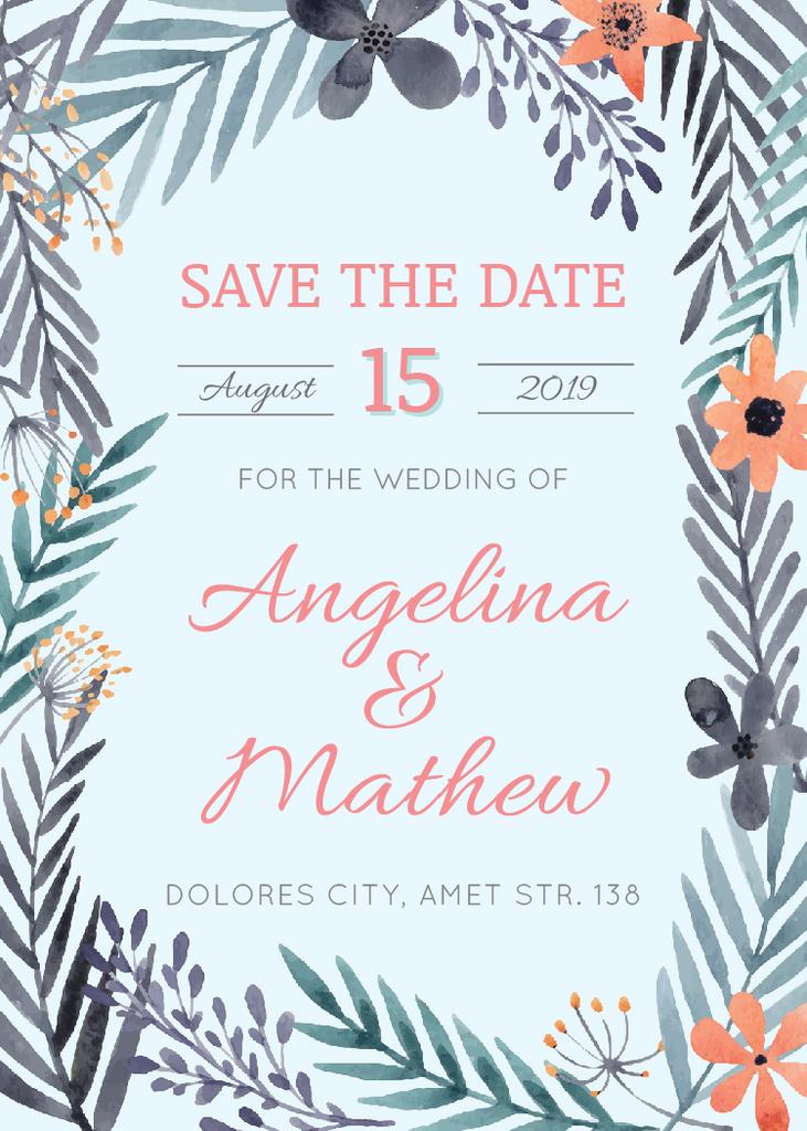 Save the Date Flowers Frame in Blue | Invitation Template — Modelo de projeto