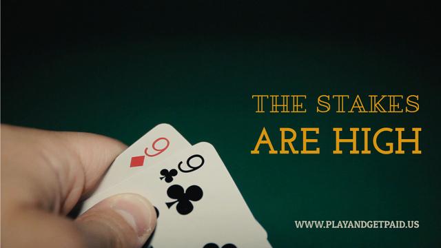 Modèle de visuel Gambling Player Checking His Cards - Full HD video