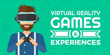 Virtual Reality Games Ad Man in VR Glasses | Twitter Post Template