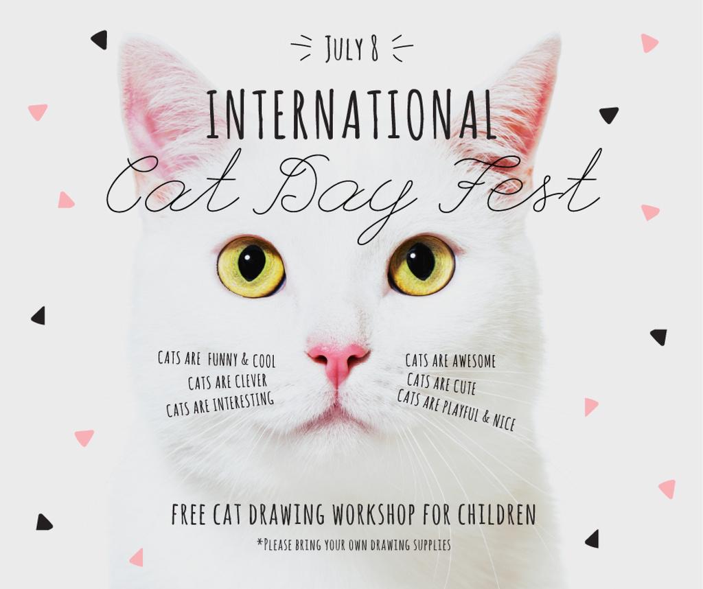 Ontwerpsjabloon van Facebook van International Cat Day Fest with White Kitty