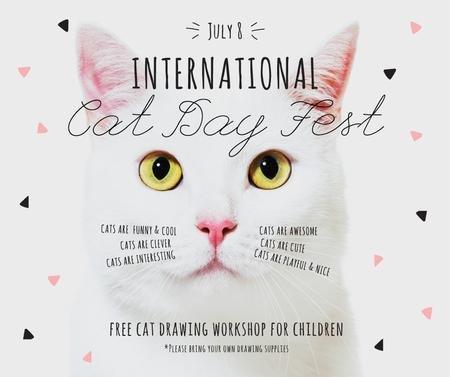 International Cat Day Fest with White Kitty Facebook Tasarım Şablonu