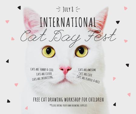 International Cat Day Fest with White Kitty Facebookデザインテンプレート