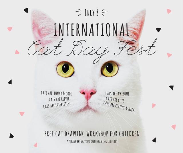 International Cat Day Fest with White Kitty Facebook Modelo de Design