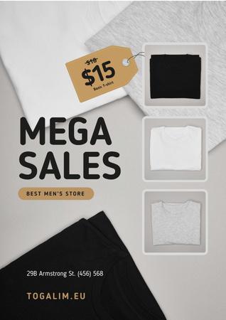 Modèle de visuel Male Store Sale with Basic T-shirts - Poster