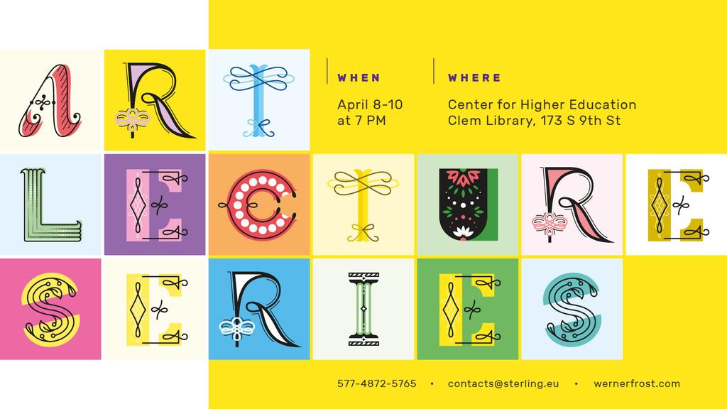 Plantilla de diseño de Ornate Letters on Art Event Invitation FB event cover