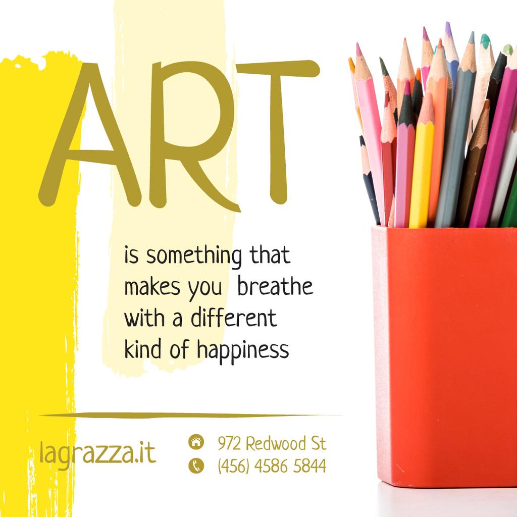 Art Supplies Sale Colorful Pencils Instagram Design Template