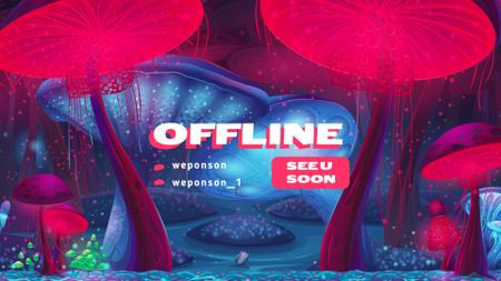 Fairy World with Magic Mushrooms Twitch Offline Banner – шаблон для дизайна