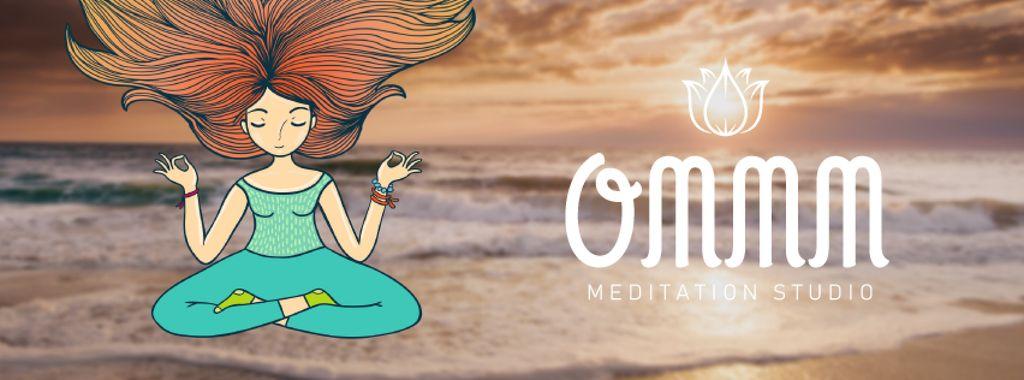 Woman mediating at the beach — Create a Design