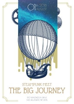Steampunk meet invitation with air balloon