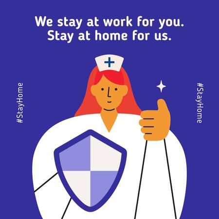 Template di design #Stayhome Coronavirus awareness with Supporting Doctor Instagram