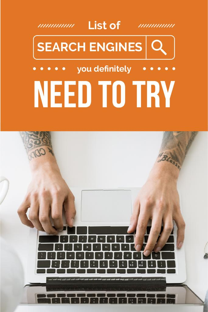 Search Engines Guide with Hands Typing on Laptop — Créer un visuel