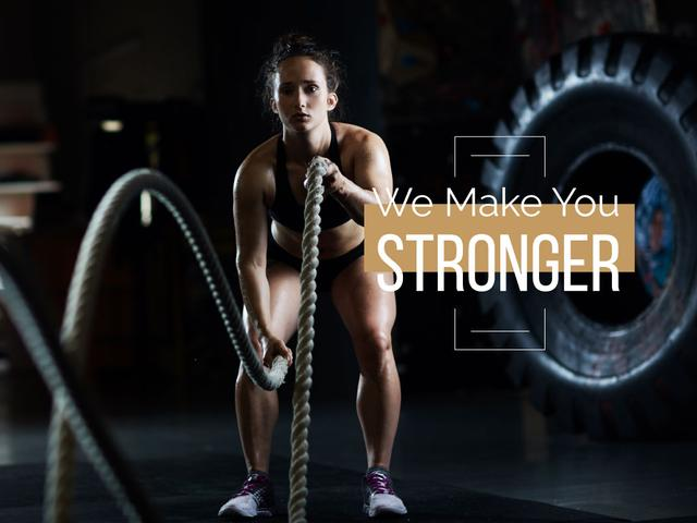 Sport Motivation with Woman in Gym Presentation Modelo de Design