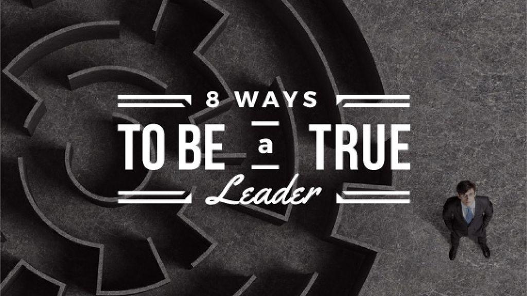 8 ways to be a true leader banner with maze and businessman — Maak een ontwerp