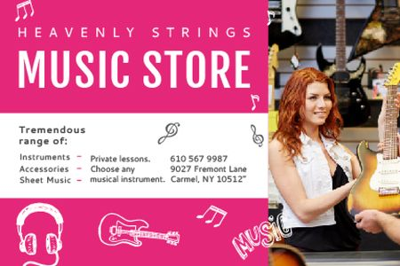 Plantilla de diseño de Music Store Offer with Female Consultant Gift Certificate