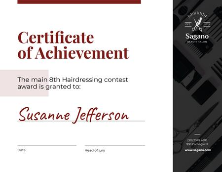 Ontwerpsjabloon van Certificate van Hairdressing Contest Achievement in black