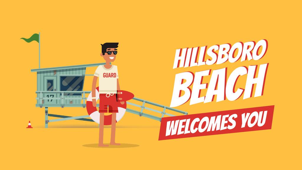Summer Beach Guard Waving on Orange — Crea un design