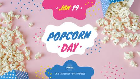 Ontwerpsjabloon van FB event cover van Popcorn Day Celebration Hot Popcorn in Carton