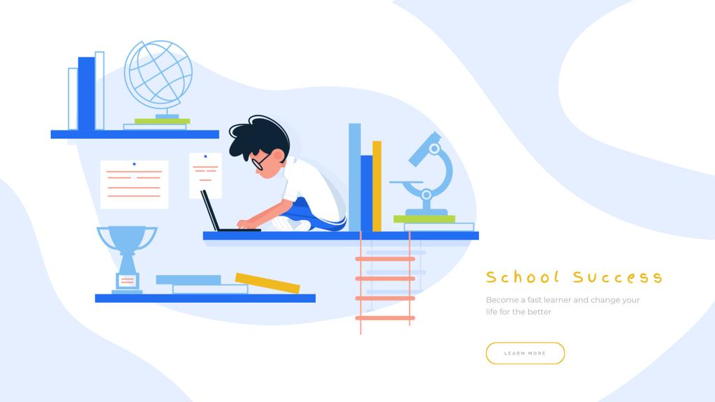 Boy studying with laptop — Create a Design