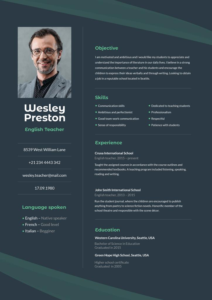 Plantilla de diseño de English Teacher professional profile Resume