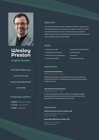 English Teacher professional profile Resume Modelo de Design