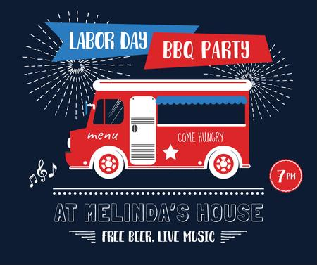 Plantilla de diseño de Van delivering food for Labor Day party Facebook