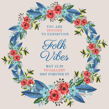 Exhibition Announcement with Wildflowers Wreath Instagram Modelo de Design